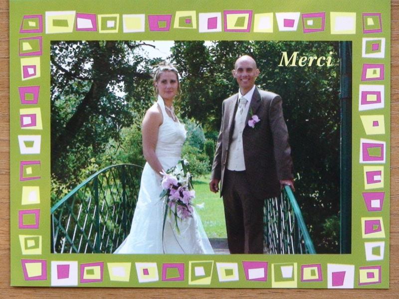 ensuite pour la famille et les amis proches nous avons fait faire des cartes photos avec notre texte de remerciements au dos - Texte Remerciement Mariage Parents