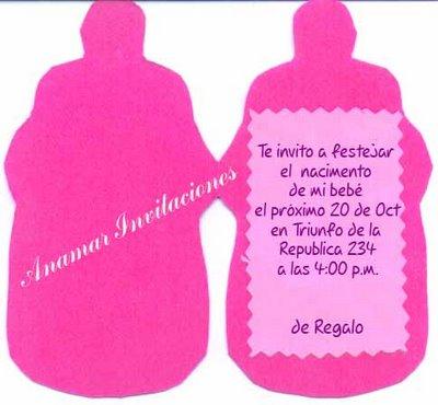 Invitaciones con forma de biberón para baby shower con molde (de la