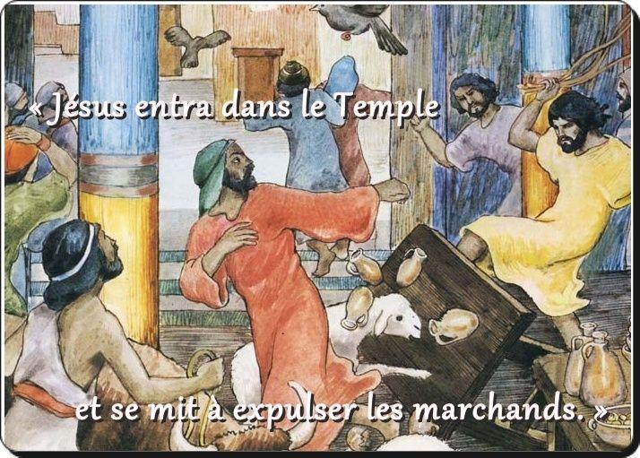 Jésus se mit à expulser les marchands.