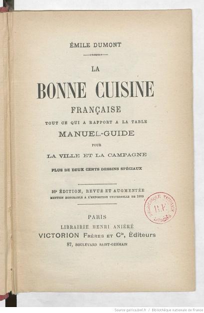 Ouvrages anciens les livres de cuisine for Anciens livres de cuisine