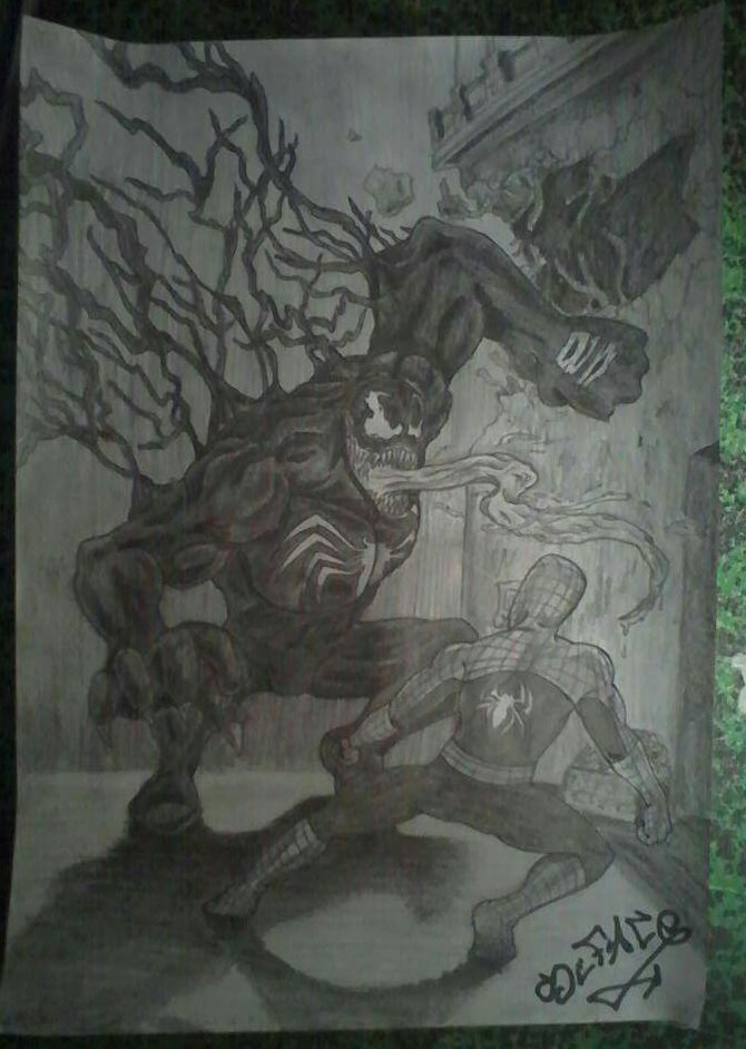 dessin venom vs spiderman